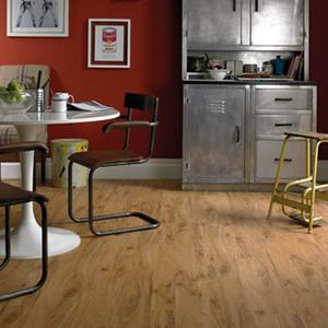 Karndean wood effect luxury vinyl flooring in a kitchen setting