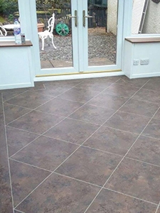 Karndean flooring stone effect tiles laid in a diamond pattern