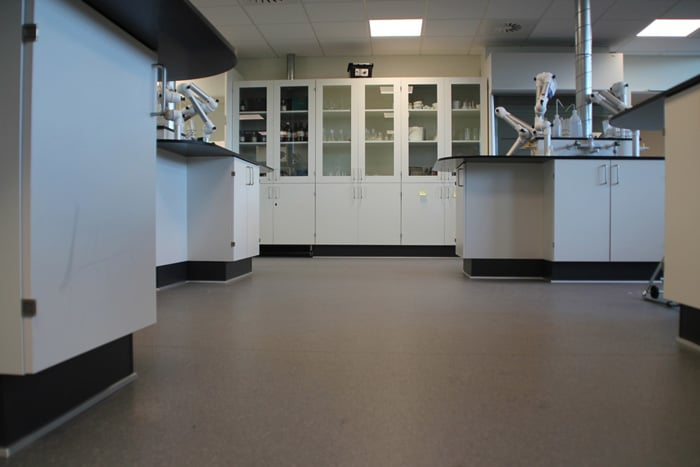Safety flooring in a laboratory environment
