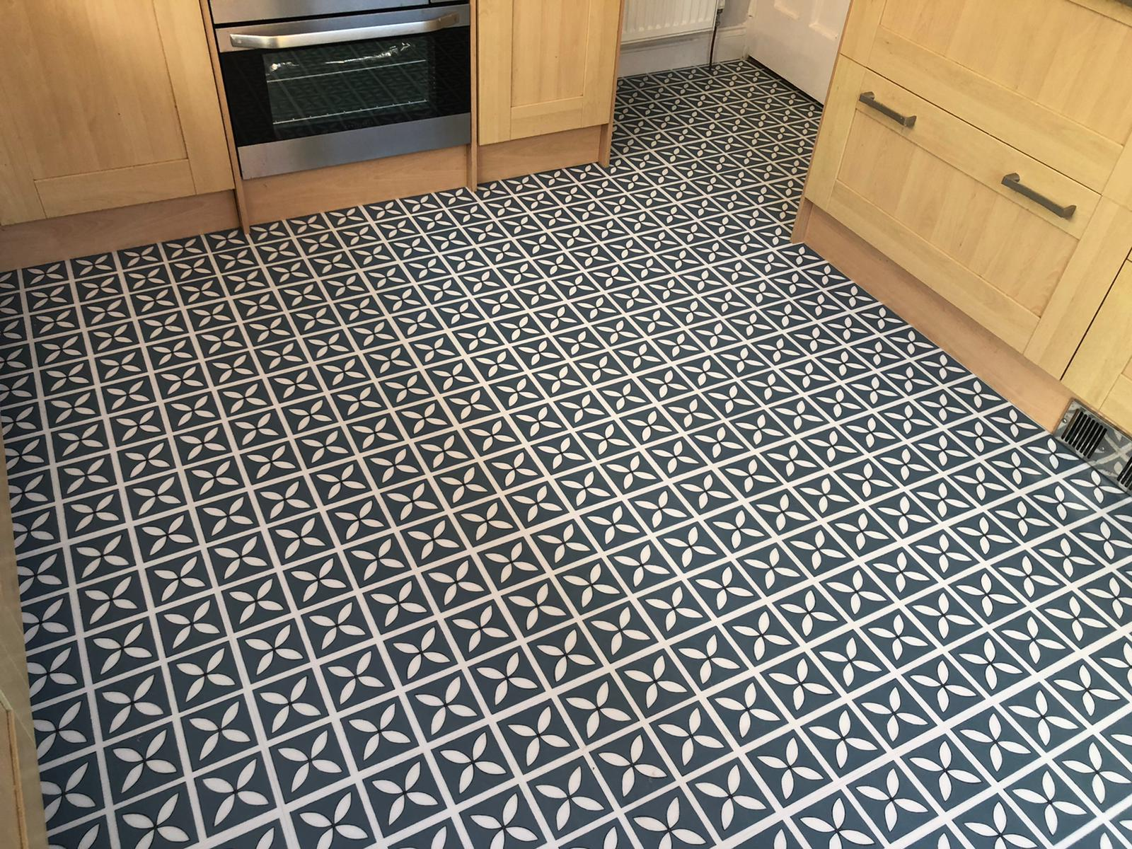 Blue and White Patterned Vinyl Flooring