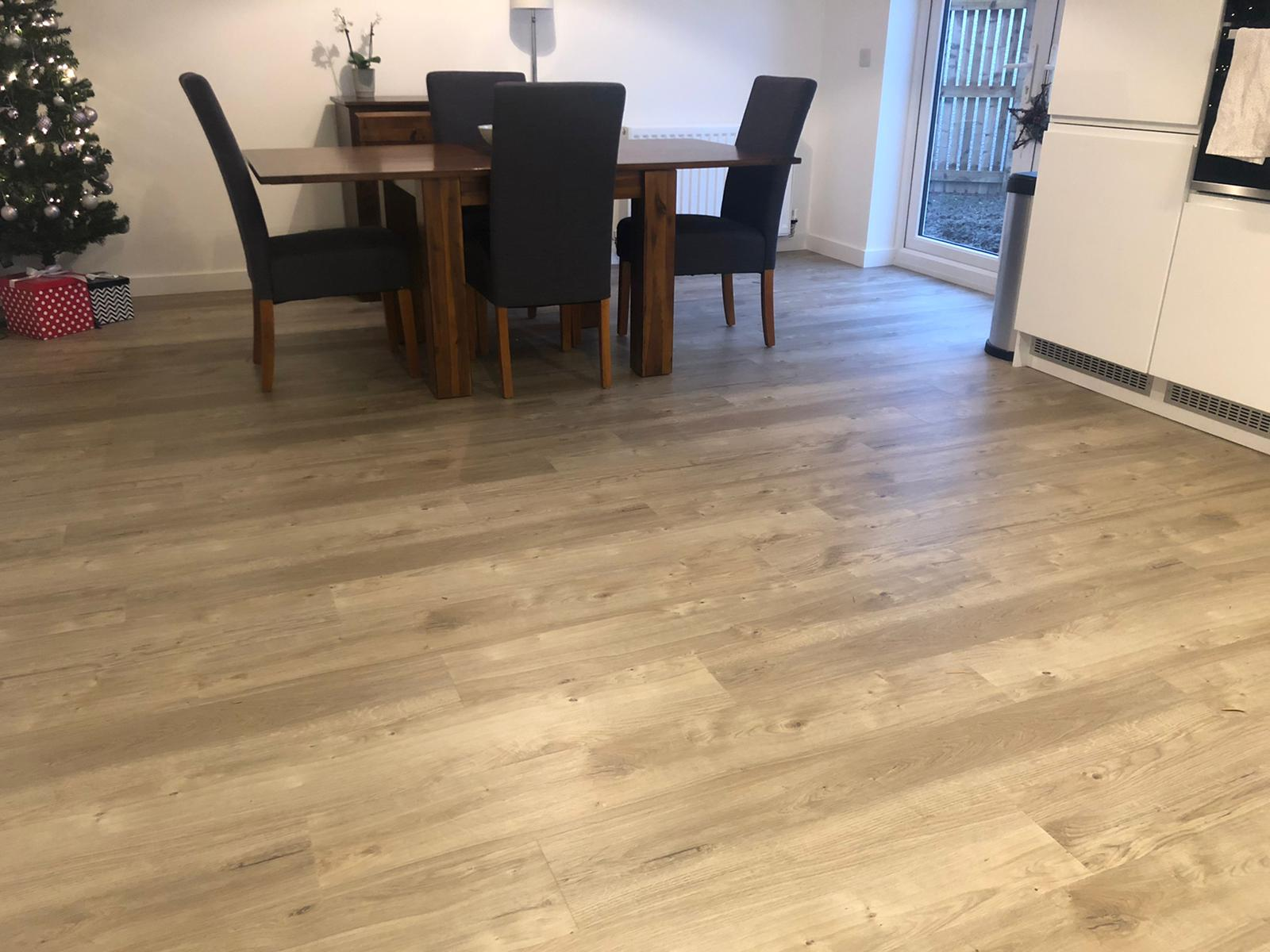 Luxury vinyl tile flooring that looks like wood.
